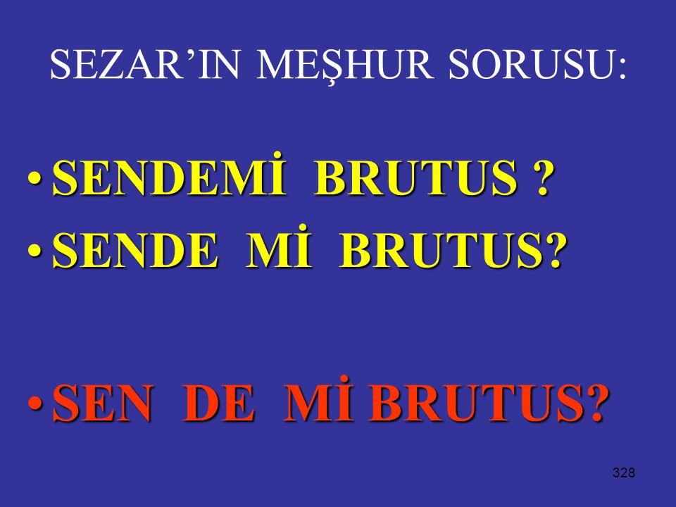 SEZAR'IN MEŞHUR SORUSU: