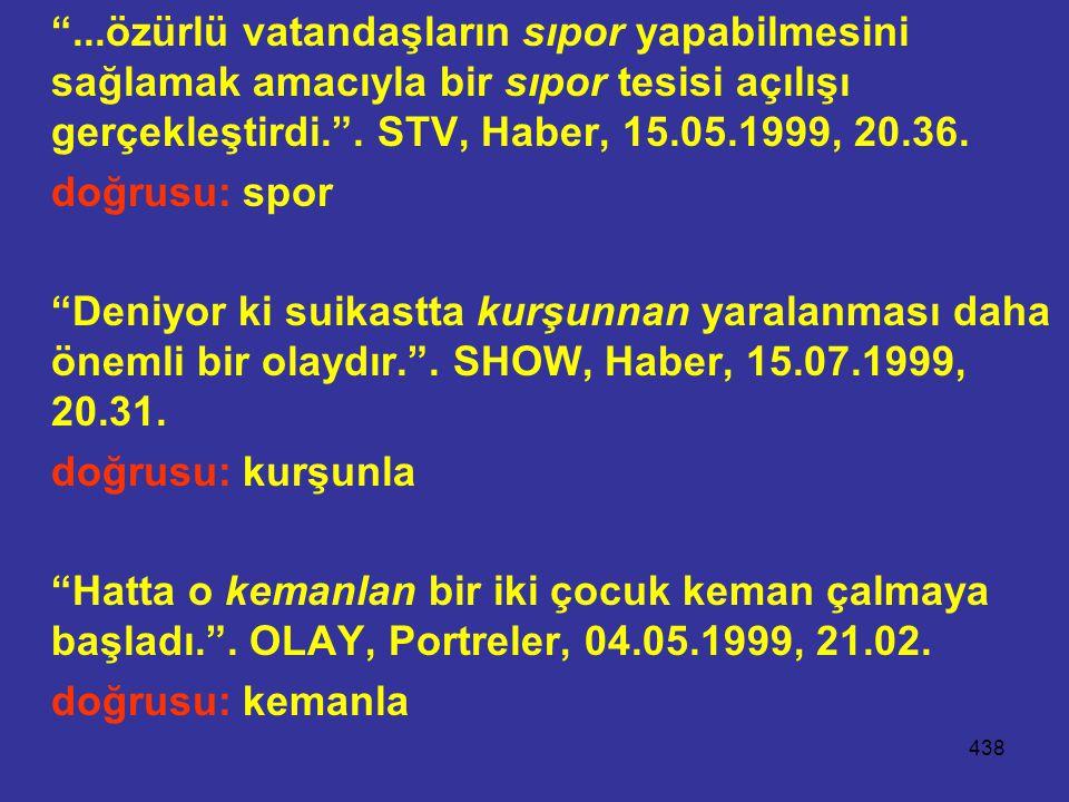 ...özürlü vatandaşların sıpor yapabilmesini sağlamak amacıyla bir sıpor tesisi açılışı gerçekleştirdi. . STV, Haber, 15.05.1999, 20.36.