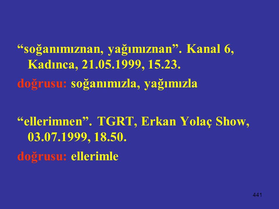 soğanımıznan, yağımıznan . Kanal 6, Kadınca, 21.05.1999, 15.23.