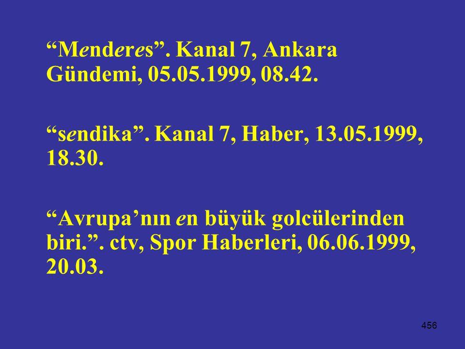 Menderes . Kanal 7, Ankara Gündemi, 05.05.1999, 08.42.