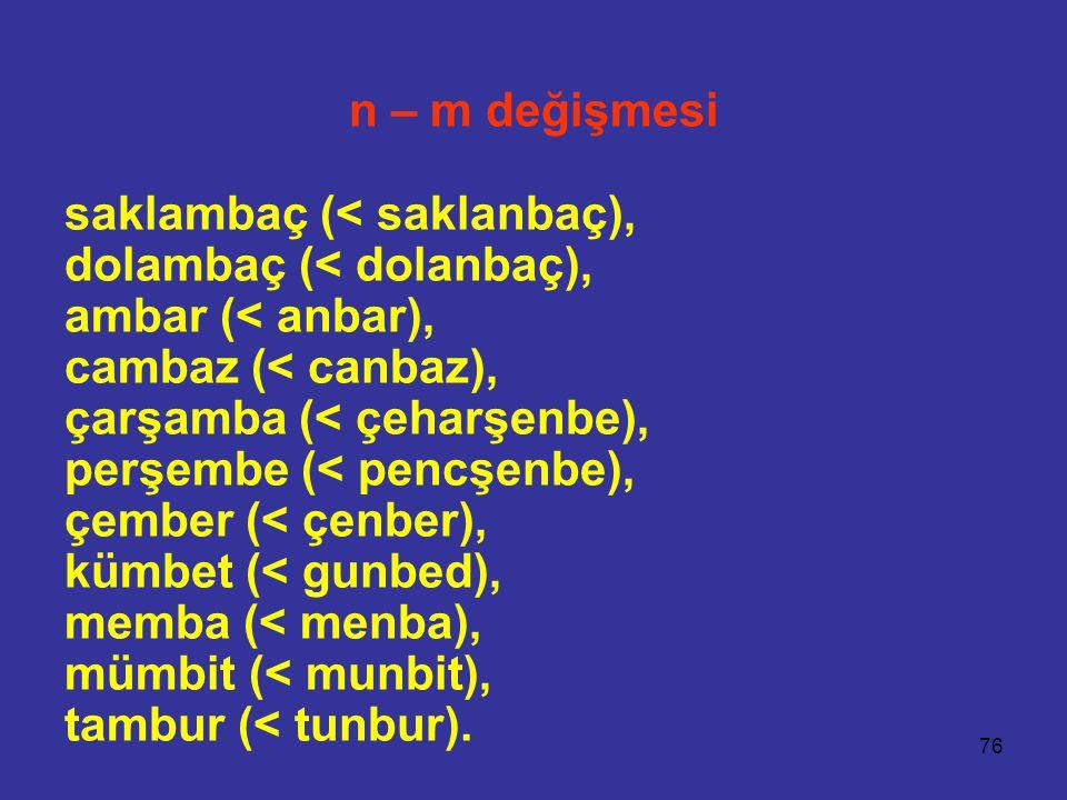 n – m değişmesi saklambaç (< saklanbaç), dolambaç (< dolanbaç), ambar (< anbar), cambaz (< canbaz),