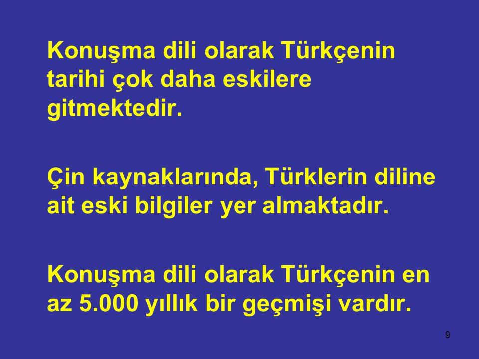Konuşma dili olarak Türkçenin tarihi çok daha eskilere gitmektedir.
