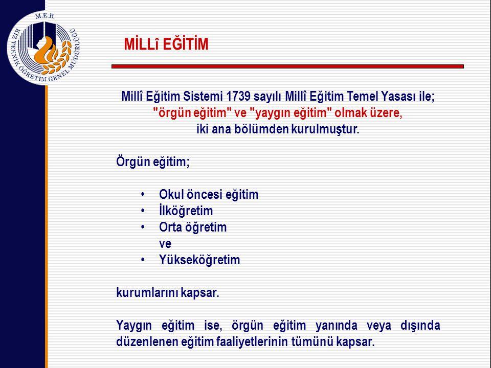 MİLLî EĞİTİM Millî Eğitim Sistemi 1739 sayılı Millî Eğitim Temel Yasası ile; örgün eğitim ve yaygın eğitim olmak üzere,