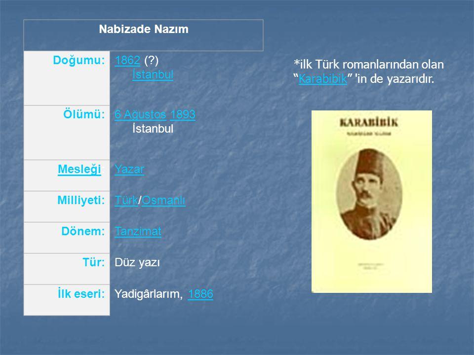 Nabizade Nazım Doğumu: 1862 ( ) İstanbul. Ölümü: 6 Ağustos 1893 İstanbul. Mesleği: Yazar. Milliyeti: