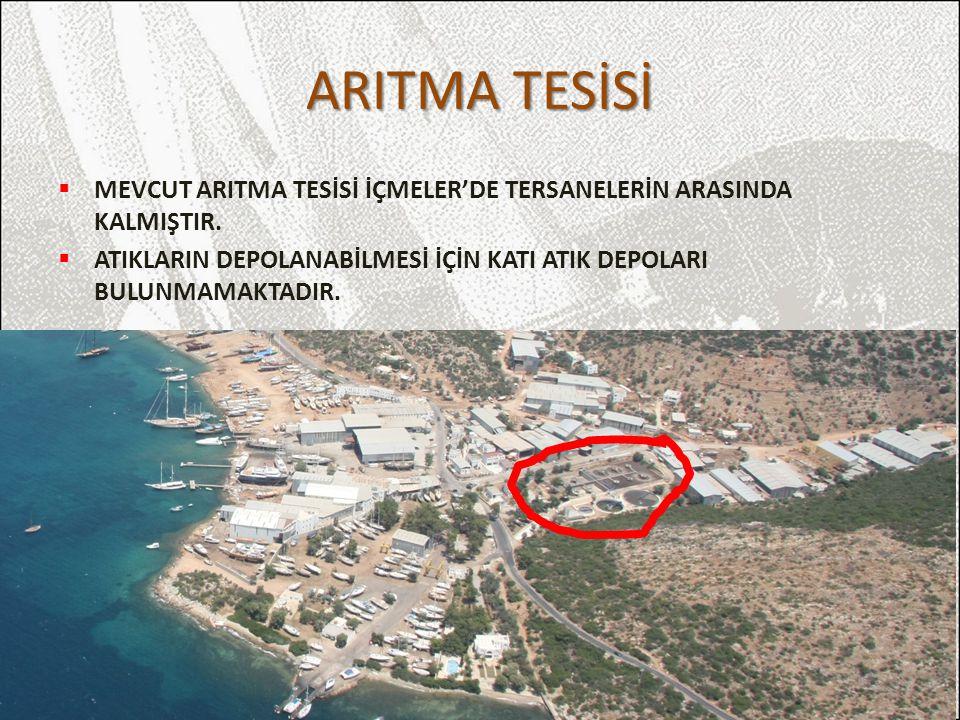 ARITMA TESİSİ MEVCUT ARITMA TESİSİ İÇMELER'DE TERSANELERİN ARASINDA KALMIŞTIR.