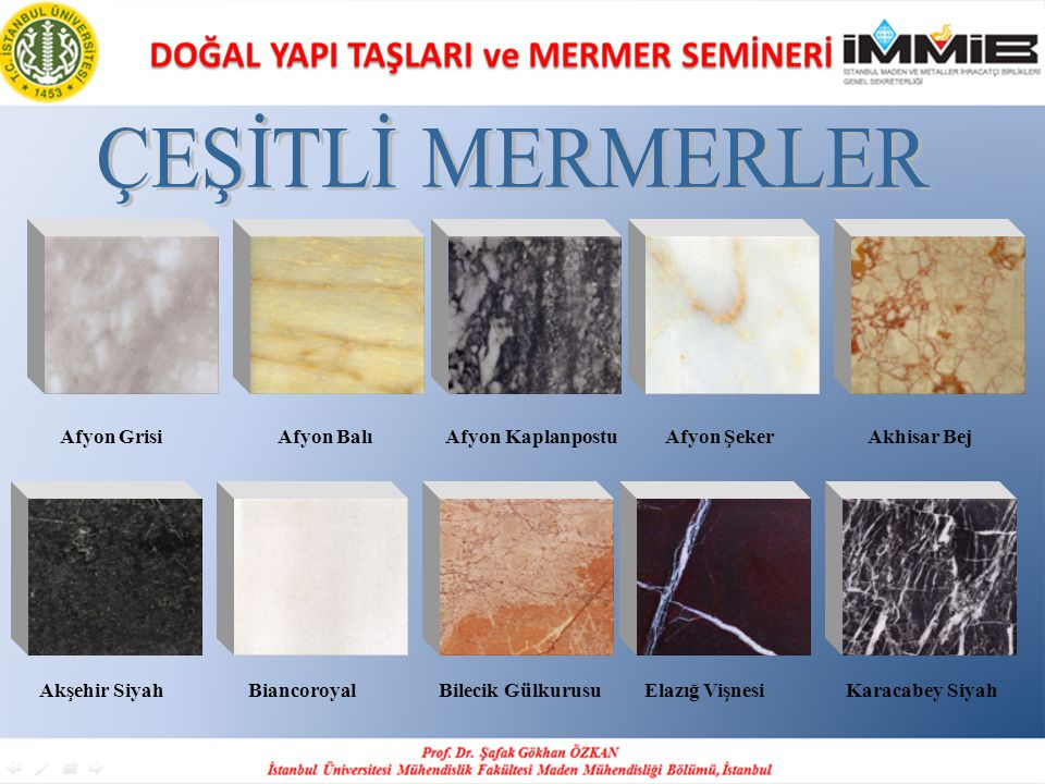 ÇEŞİTLİ MERMERLER Afyon Grisi Afyon Balı Afyon Kaplanpostu Afyon Şeker Akhisar Bej.