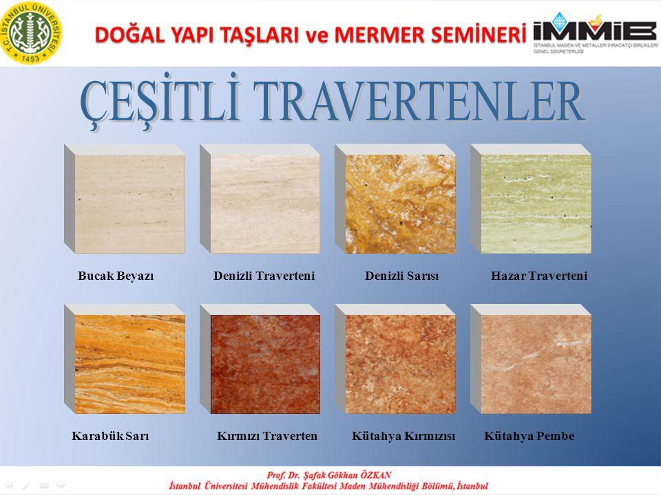 ÇEŞİTLİ TRAVERTENLER Bucak Beyazı Denizli Traverteni Denizli Sarısı Hazar Traverteni.