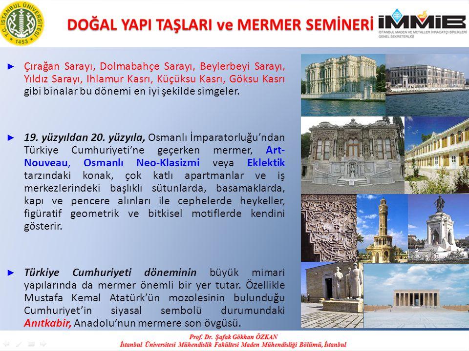 Çırağan Sarayı, Dolmabahçe Sarayı, Beylerbeyi Sarayı, Yıldız Sarayı, Ihlamur Kasrı, Küçüksu Kasrı, Göksu Kasrı gibi binalar bu dönemi en iyi şekilde simgeler.
