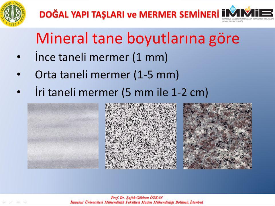 Mineral tane boyutlarına göre
