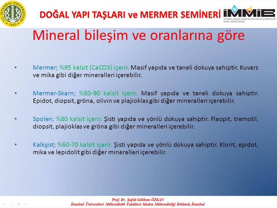 Mineral bileşim ve oranlarına göre