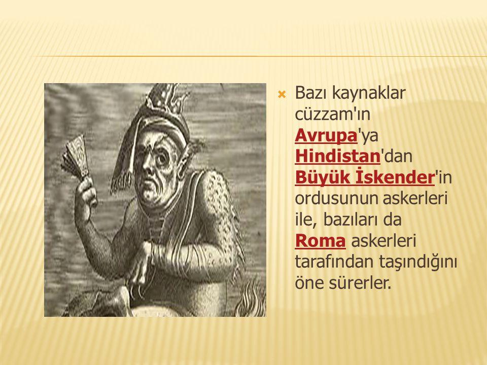 Bazı kaynaklar cüzzam ın Avrupa ya Hindistan dan Büyük İskender in ordusunun askerleri ile, bazıları da Roma askerleri tarafından taşındığını öne sürerler.