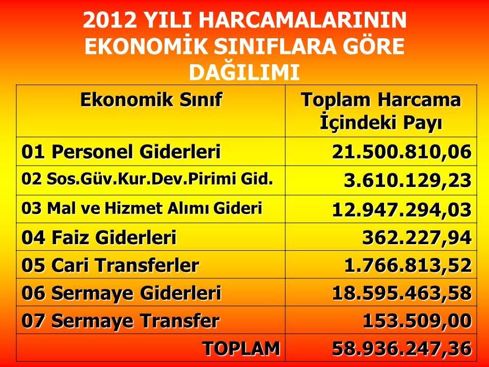 2012 YILI HARCAMALARININ EKONOMİK SINIFLARA GÖRE DAĞILIMI