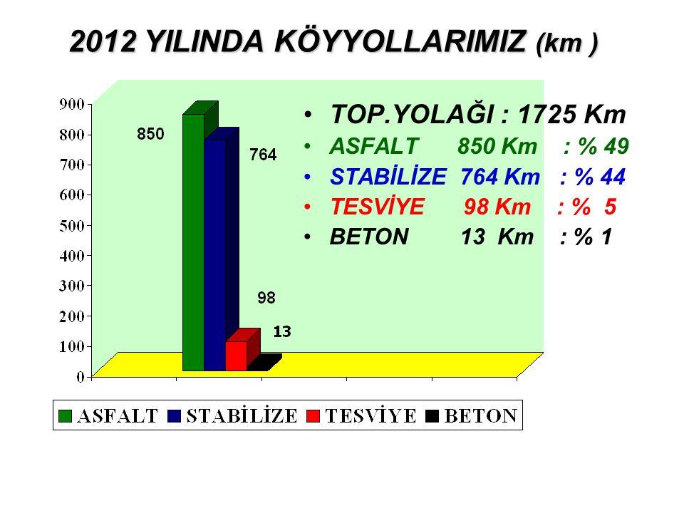 2012 YILINDA KÖYYOLLARIMIZ (km )