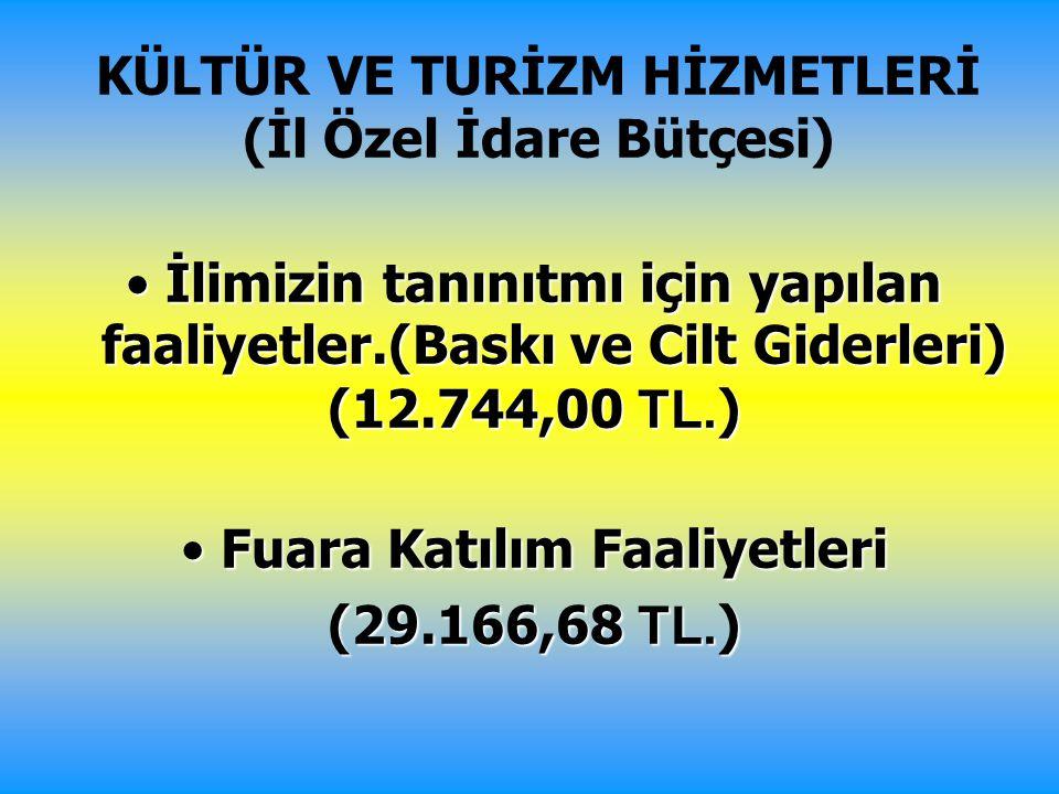 KÜLTÜR VE TURİZM HİZMETLERİ (İl Özel İdare Bütçesi)