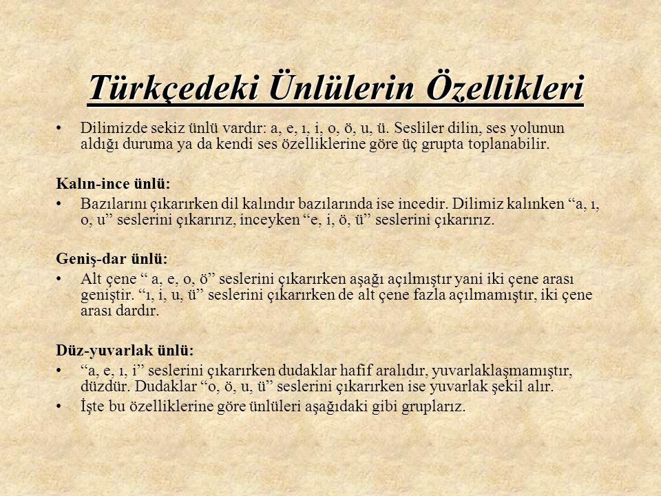 Türkçedeki Ünlülerin Özellikleri