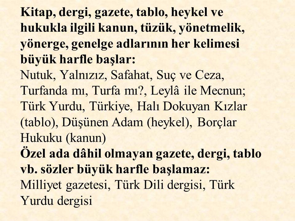 Kitap, dergi, gazete, tablo, heykel ve hukukla ilgili kanun, tüzük, yönetmelik, yönerge, genelge adlarının her kelimesi büyük harfle başlar: Nutuk, Yalnızız, Safahat, Suç ve Ceza, Turfanda mı, Turfa mı , Leylâ ile Mecnun; Türk Yurdu, Türkiye, Halı Dokuyan Kızlar (tablo), Düşünen Adam (heykel), Borçlar Hukuku (kanun) Özel ada dâhil olmayan gazete, dergi, tablo vb.
