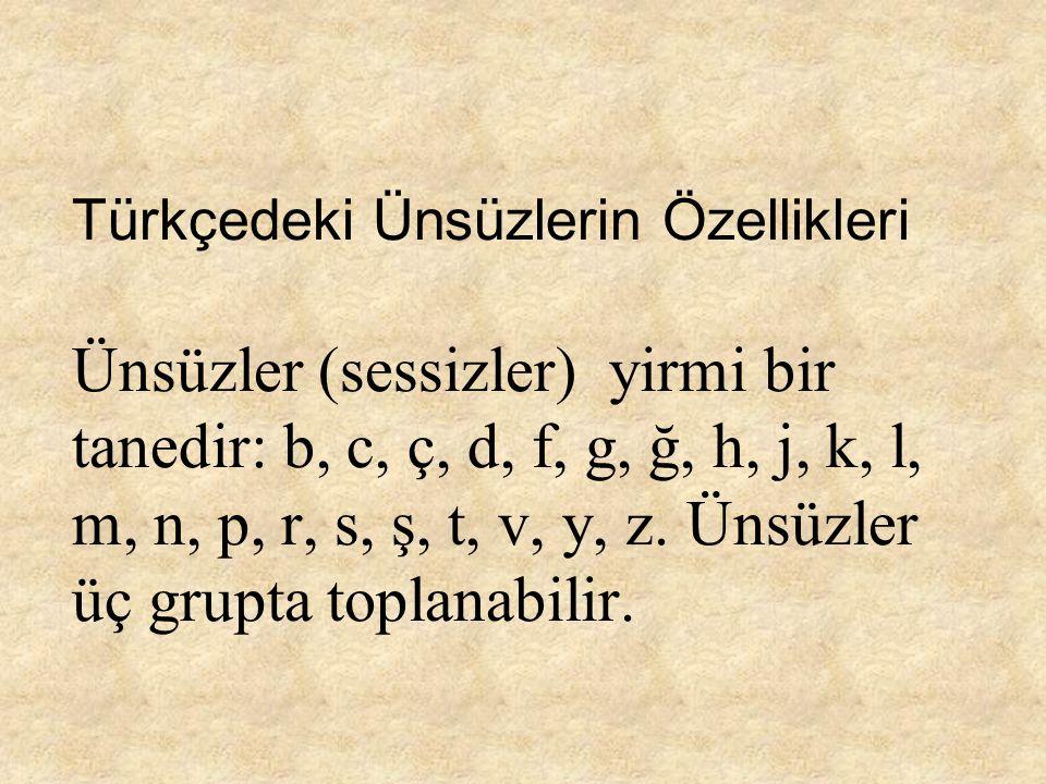 Türkçedeki Ünsüzlerin Özellikleri Ünsüzler (sessizler) yirmi bir tanedir: b, c, ç, d, f, g, ğ, h, j, k, l, m, n, p, r, s, ş, t, v, y, z.