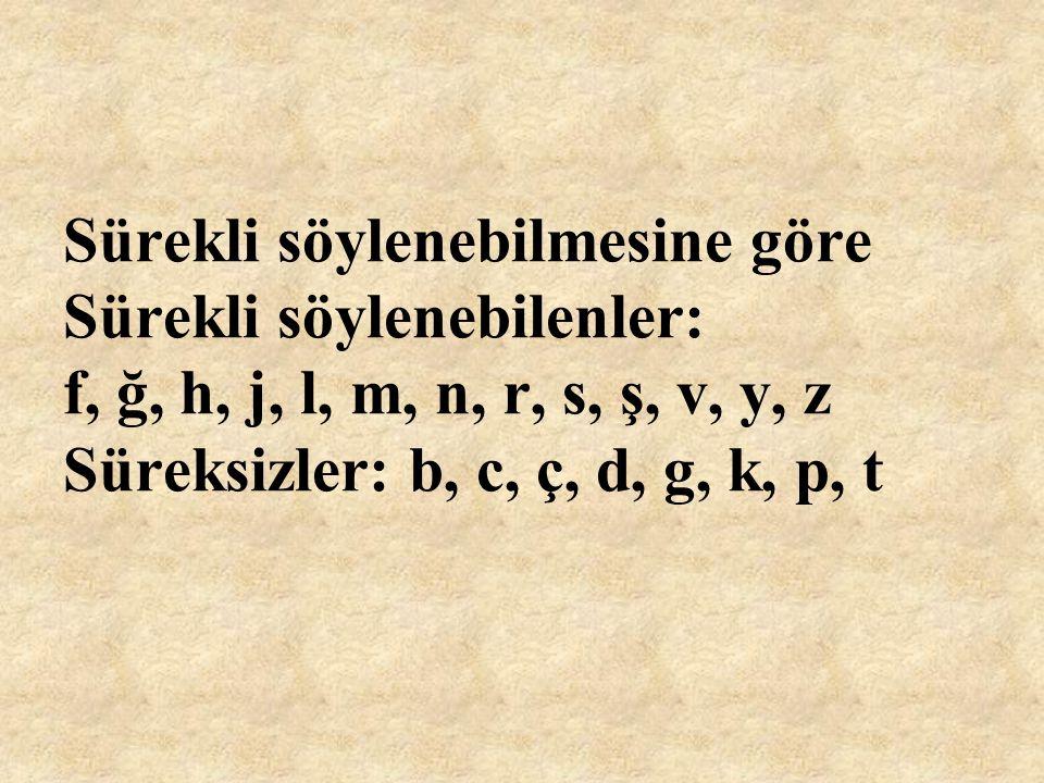 Sürekli söylenebilmesine göre Sürekli söylenebilenler: f, ğ, h, j, l, m, n, r, s, ş, v, y, z Süreksizler: b, c, ç, d, g, k, p, t