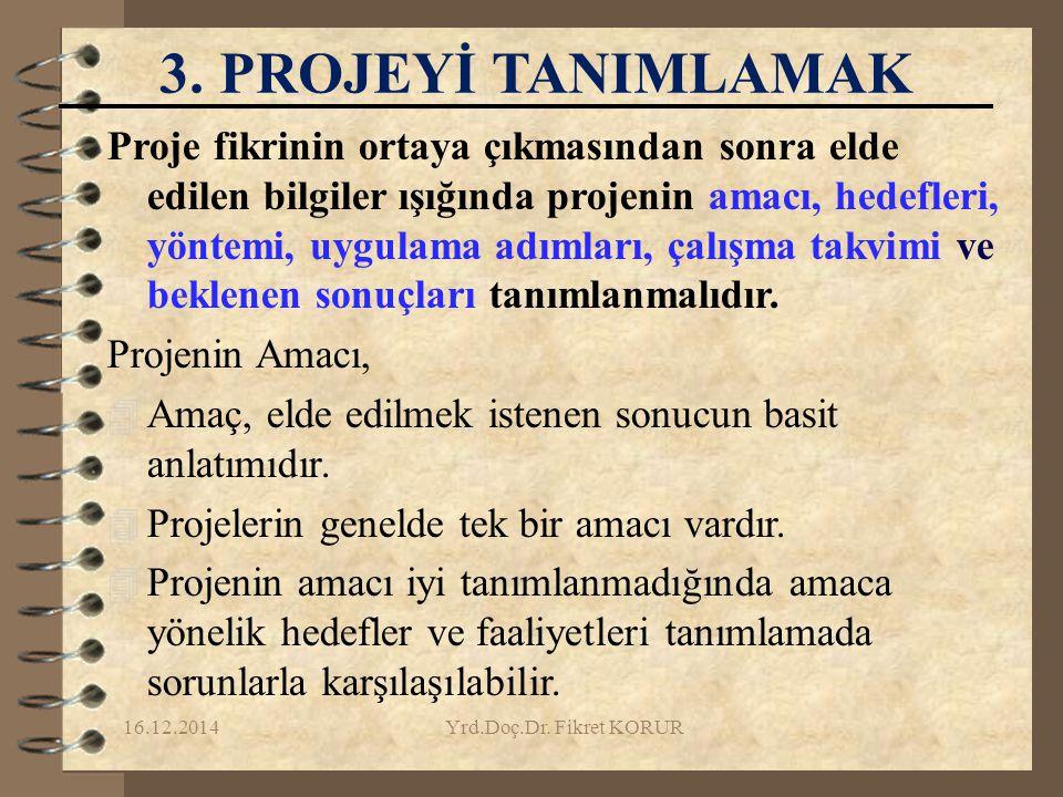 3. PROJEYİ TANIMLAMAK