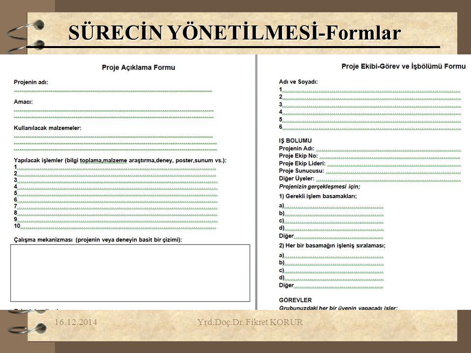 SÜRECİN YÖNETİLMESİ-Formlar