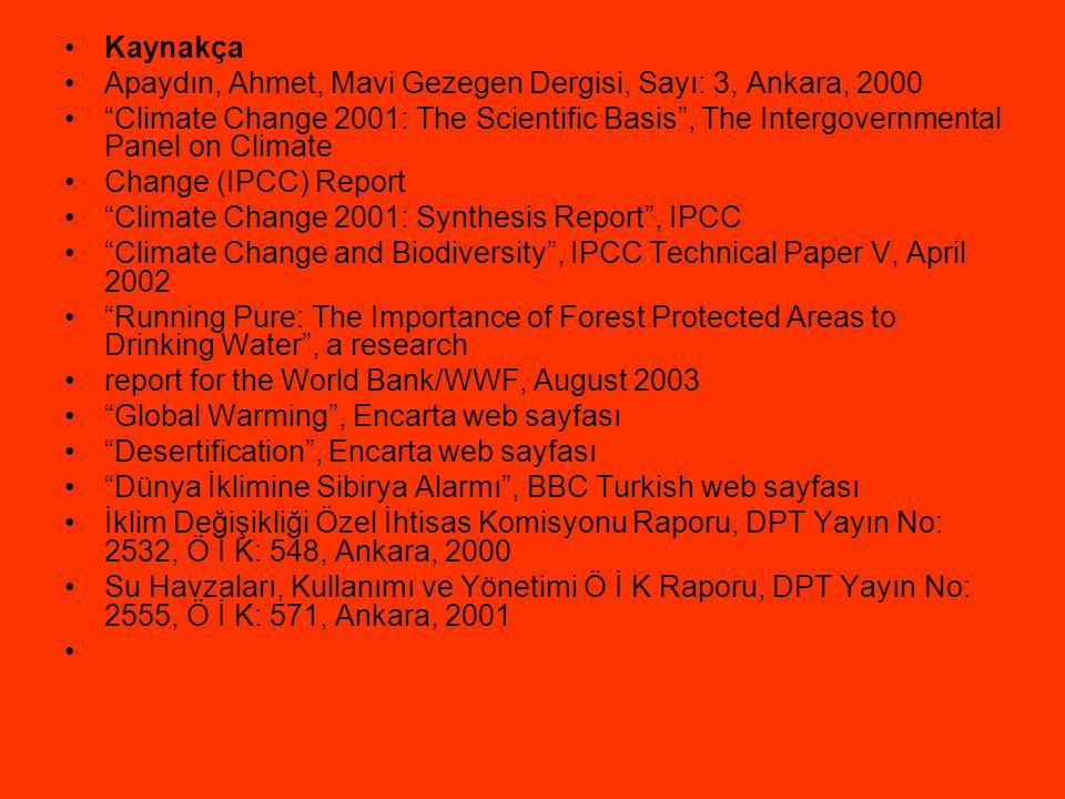 Kaynakça Apaydın, Ahmet, Mavi Gezegen Dergisi, Sayı: 3, Ankara, 2000.
