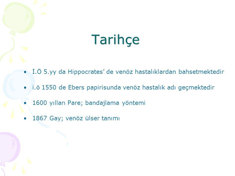 Tarihçe İ.Ö 5.yy da Hippocrates' de venöz hastalıklardan bahsetmektedir. i.ö 1550 de Ebers papirisunda venöz hastalık adı geçmektedir.