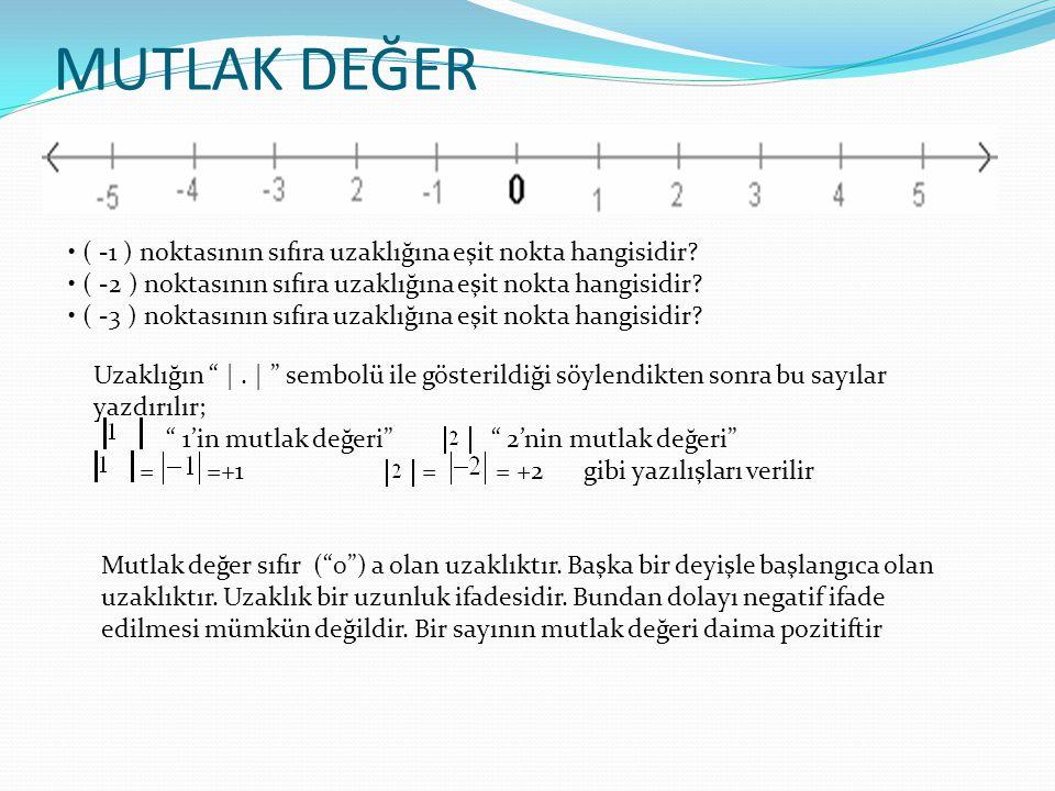 MUTLAK DEĞER • ( -1 ) noktasının sıfıra uzaklığına eşit nokta hangisidir • ( -2 ) noktasının sıfıra uzaklığına eşit nokta hangisidir