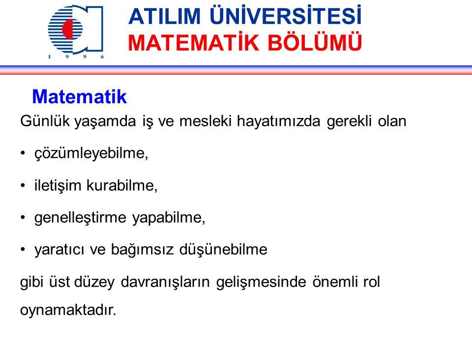 ATILIM ÜNİVERSİTESİ MATEMATİK BÖLÜMÜ