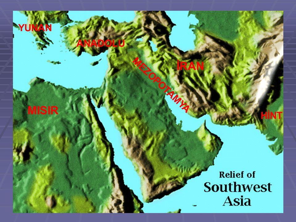 YUNAN ANADOLU İRAN MEZOPOTAMYA MISIR HİNT