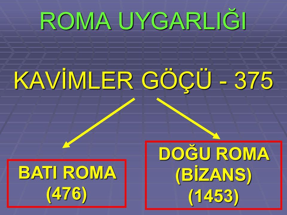 ROMA UYGARLIĞI KAVİMLER GÖÇÜ - 375 DOĞU ROMA (BİZANS) (1453)
