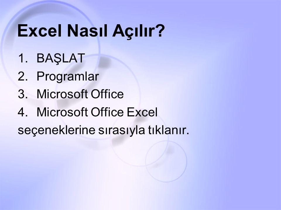 Excel Nasıl Açılır BAŞLAT Programlar Microsoft Office