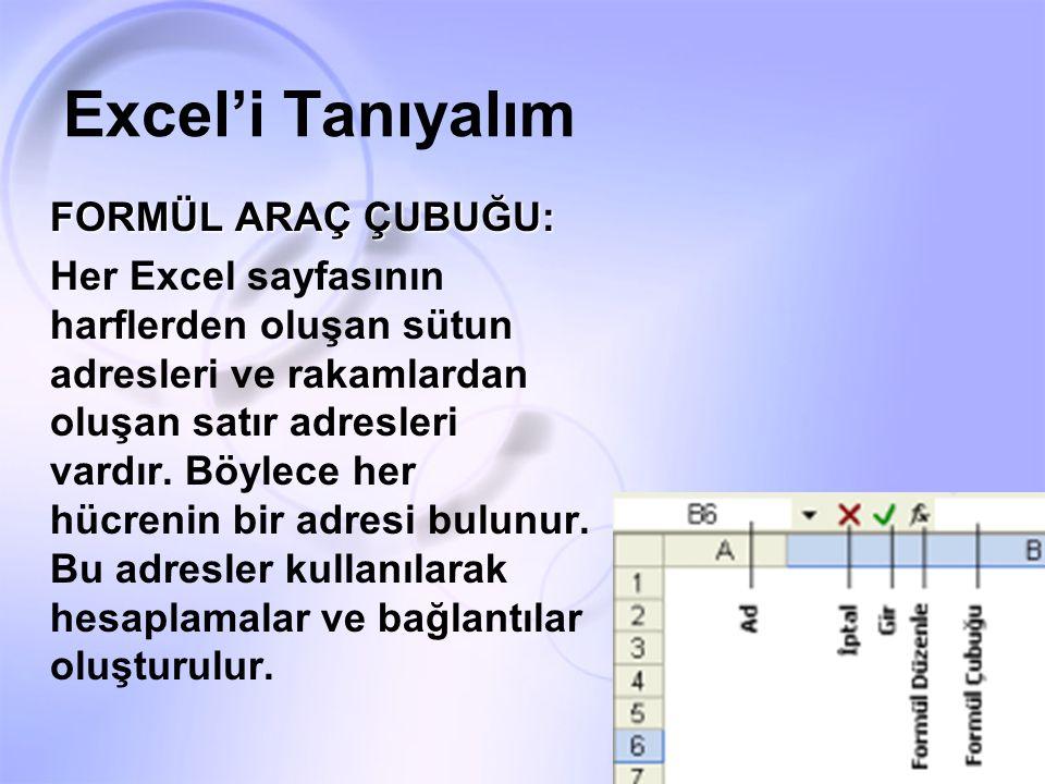 Excel'i Tanıyalım FORMÜL ARAÇ ÇUBUĞU: