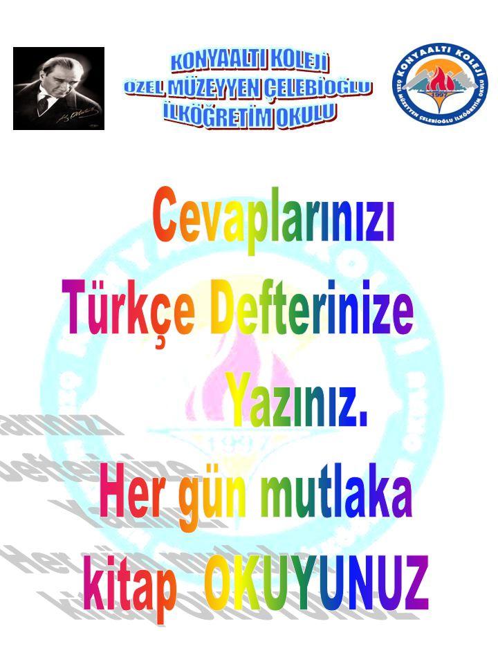 Cevaplarınızı Türkçe Defterinize Yazınız. Her gün mutlaka kitap OKUYUNUZ