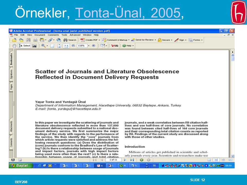 Örnekler, Tonta-Ünal, 2005, BBY208