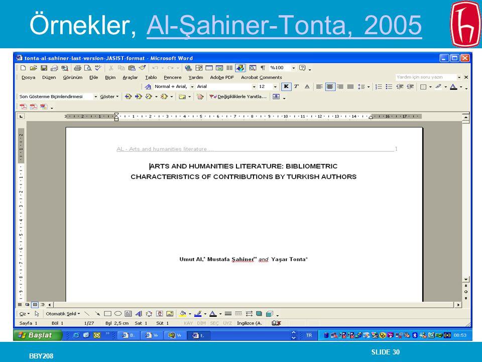 Örnekler, Al-Şahiner-Tonta, 2005
