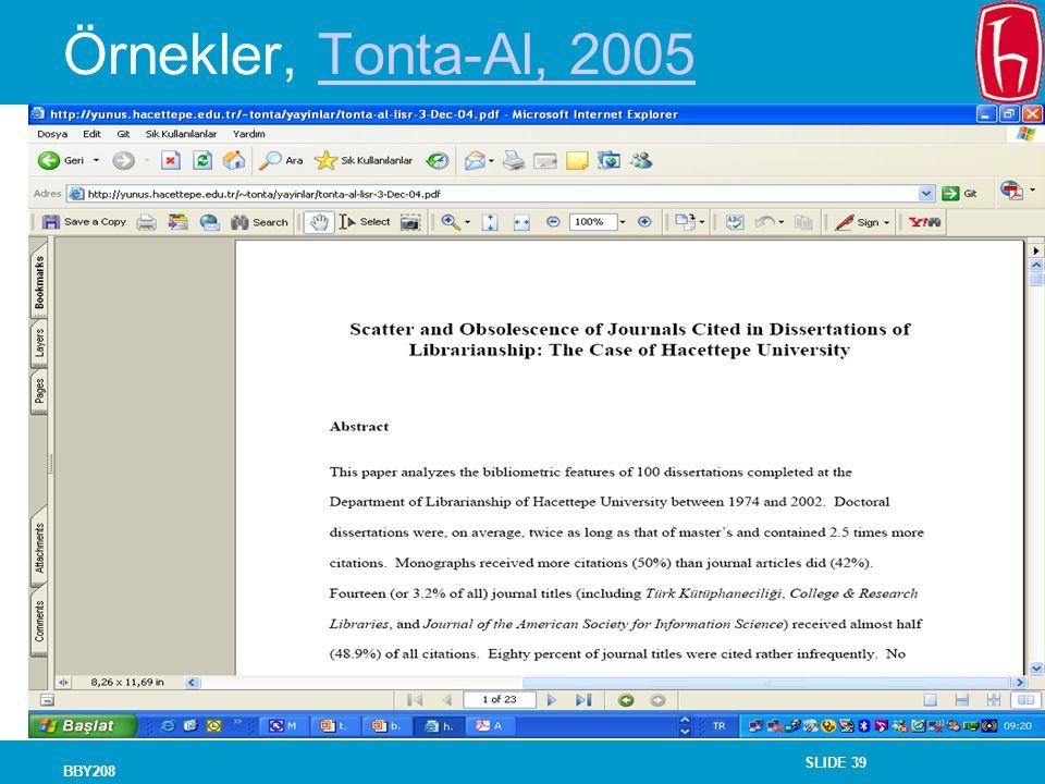 Örnekler, Tonta-Al, 2005 BBY208