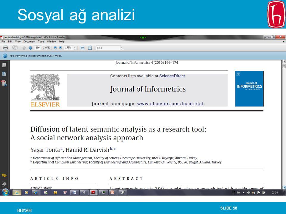 Sosyal ağ analizi BBY208