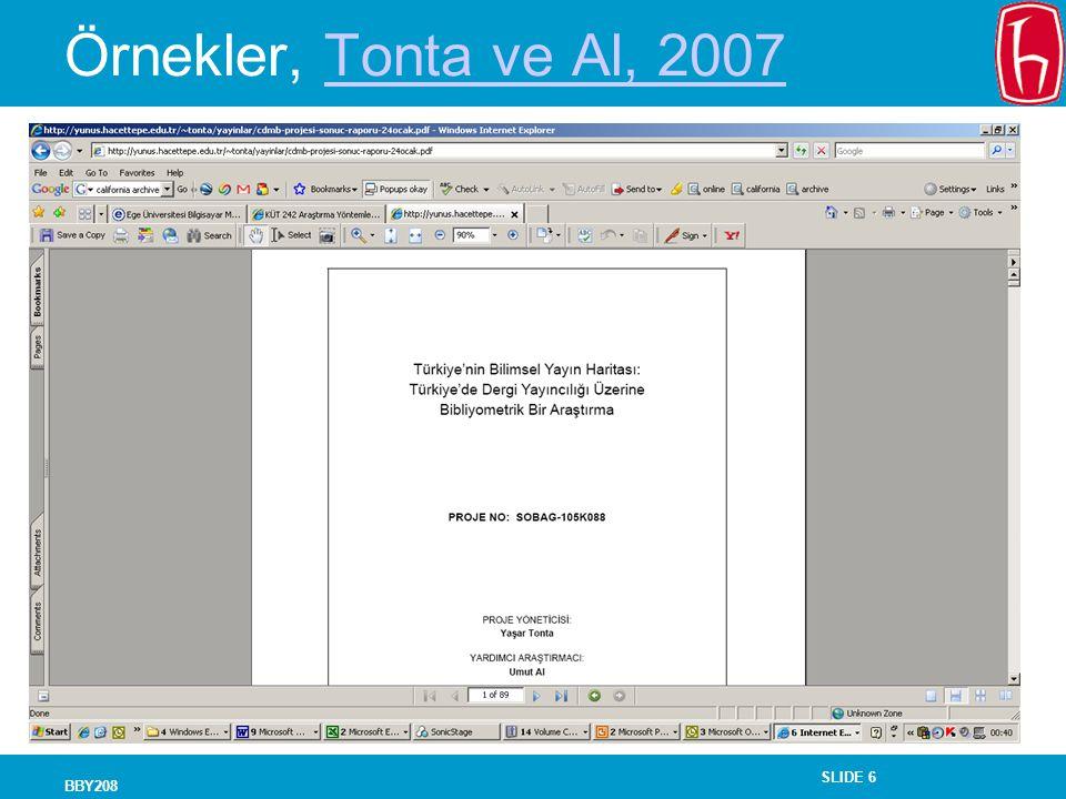 Örnekler, Tonta ve Al, 2007 BBY208