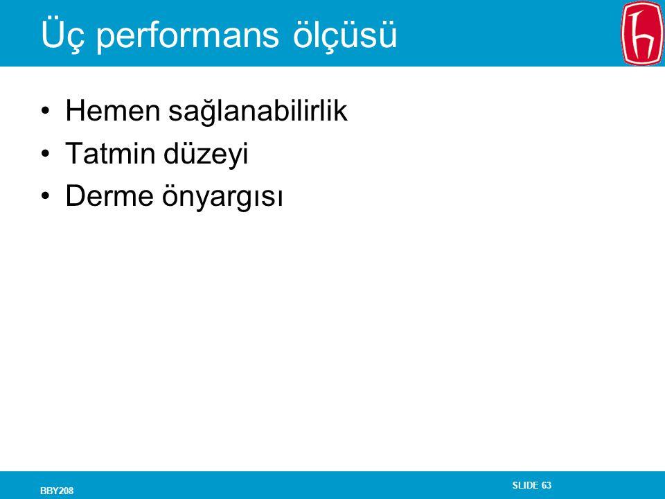 Üç performans ölçüsü Hemen sağlanabilirlik Tatmin düzeyi