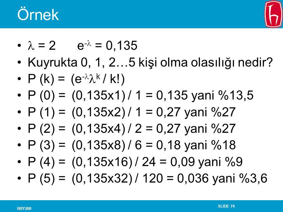 Örnek  = 2 e- = 0,135 Kuyrukta 0, 1, 2…5 kişi olma olasılığı nedir