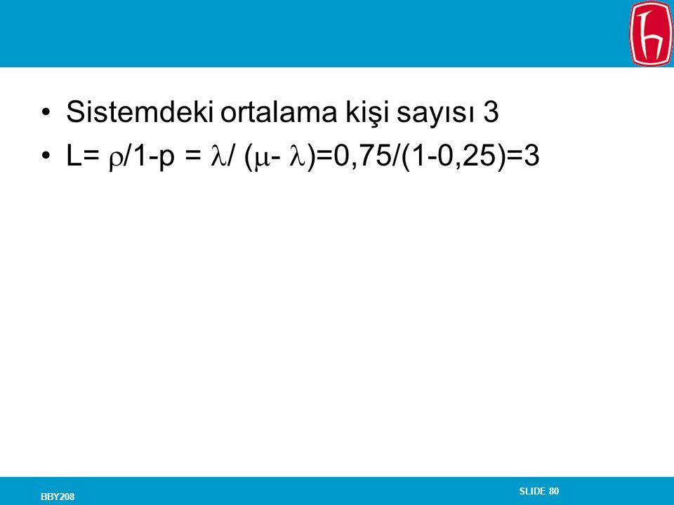 Sistemdeki ortalama kişi sayısı 3 L= /1-p = / (- )=0,75/(1-0,25)=3