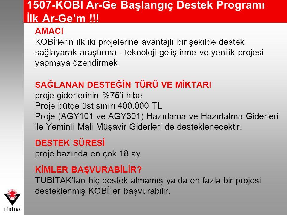1507-KOBİ Ar-Ge Başlangıç Destek Programı İlk Ar-Ge'm !!!