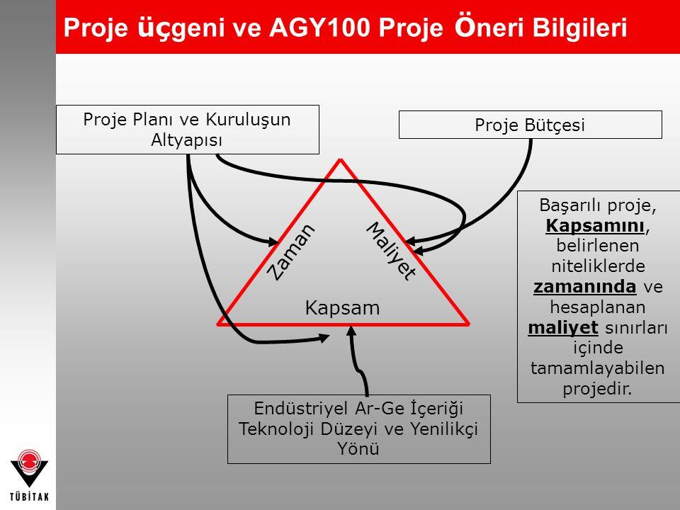 Proje üçgeni ve AGY100 Proje Öneri Bilgileri