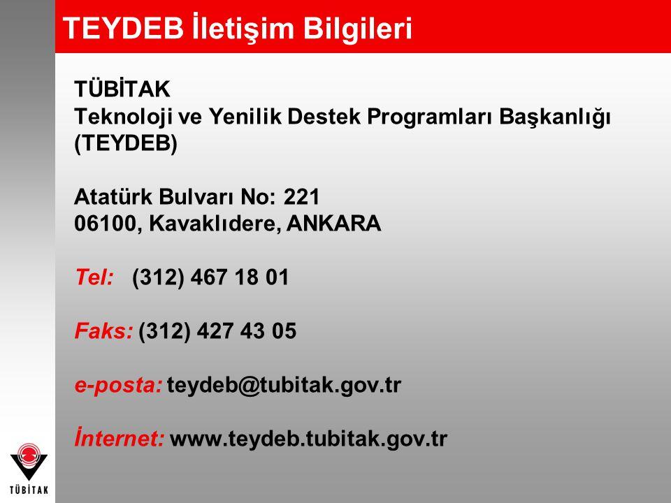 TEYDEB İletişim Bilgileri