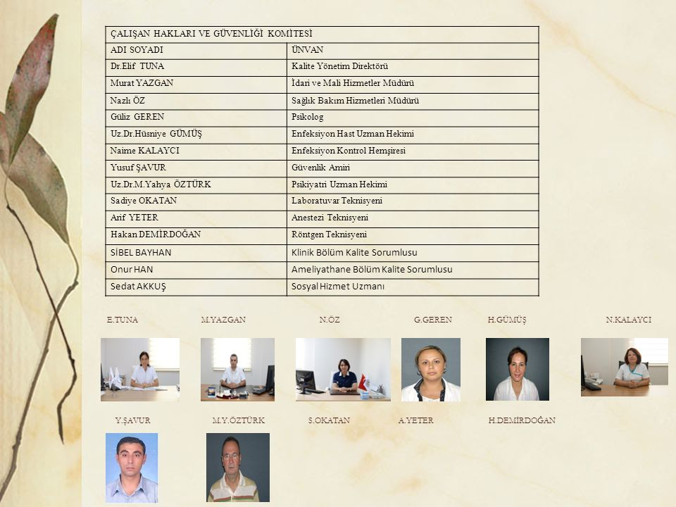 Klinik Bölüm Kalite Sorumlusu Onur HAN