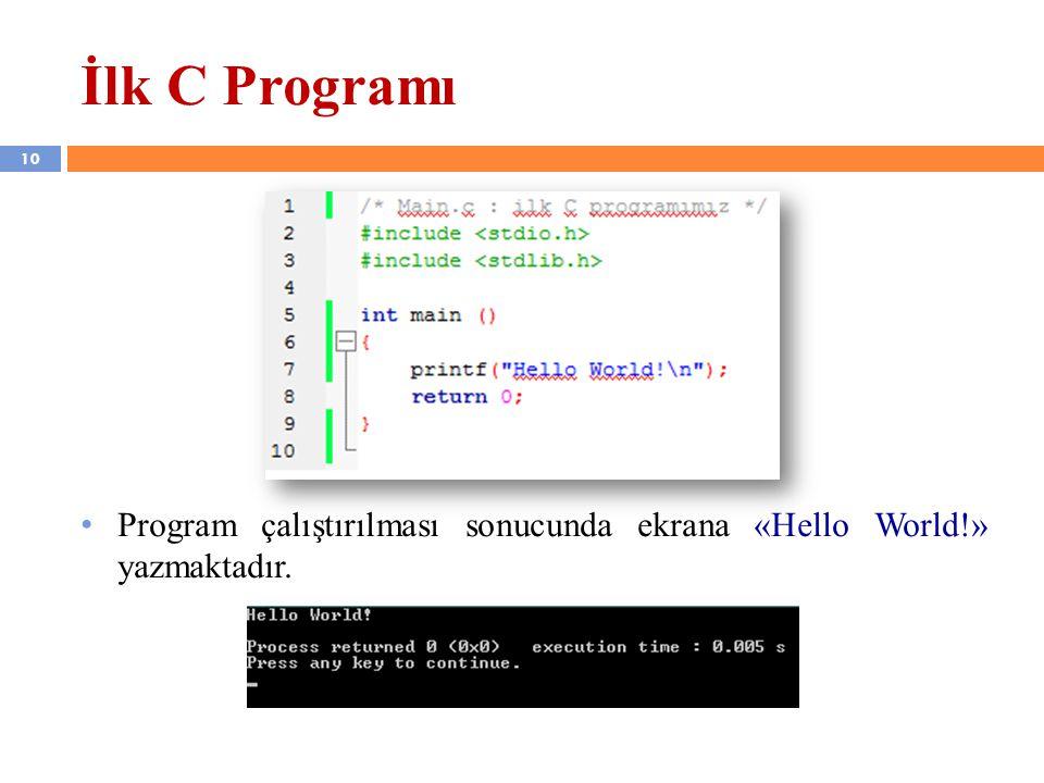 İlk C Programı Program çalıştırılması sonucunda ekrana «Hello World!» yazmaktadır.