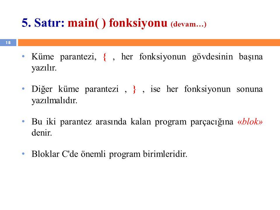5. Satır: main( ) fonksiyonu (devam…)