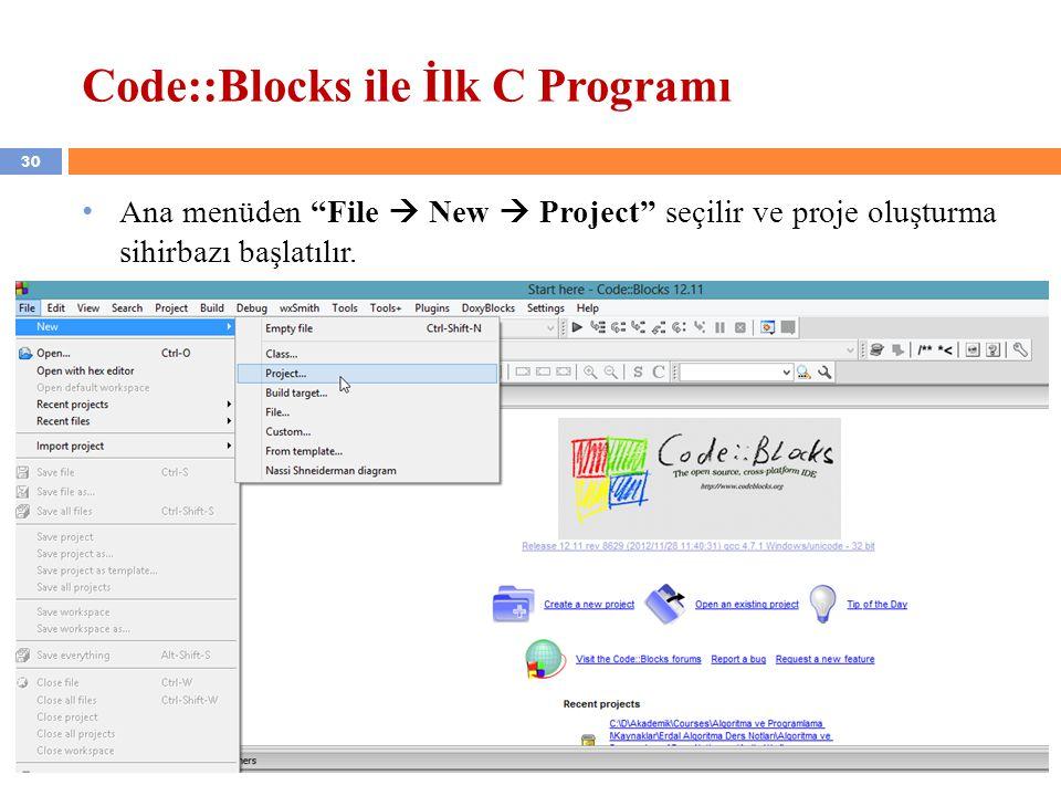 Code::Blocks ile İlk C Programı