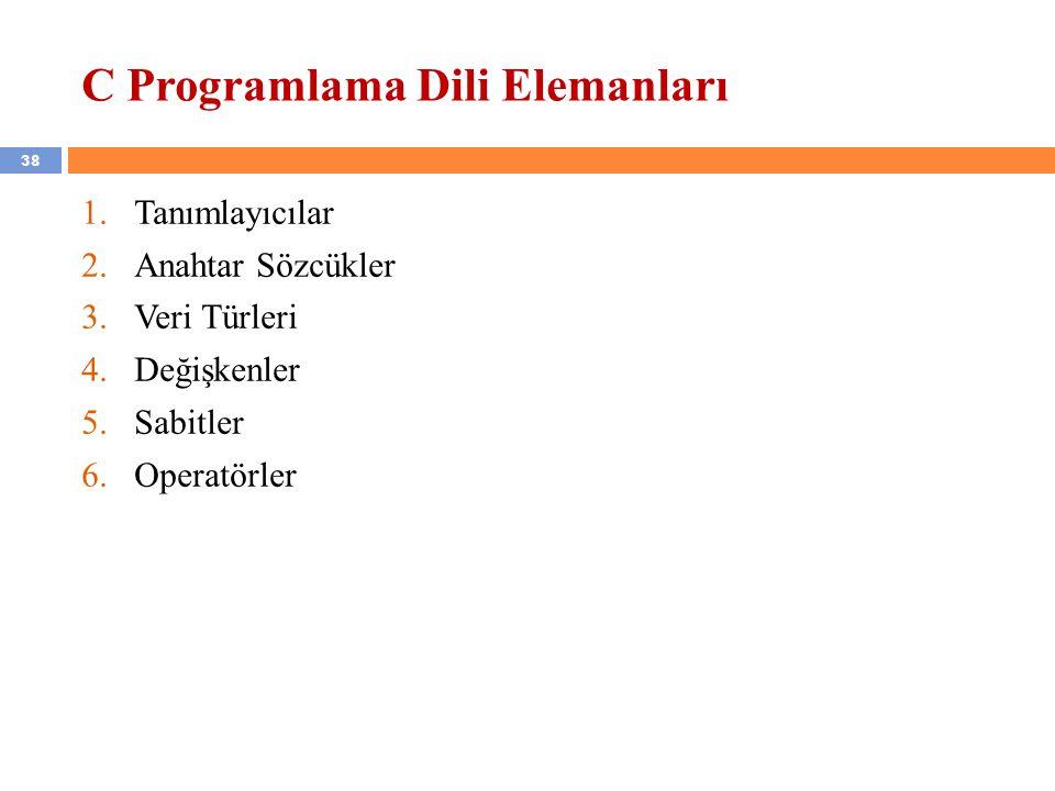 C Programlama Dili Elemanları
