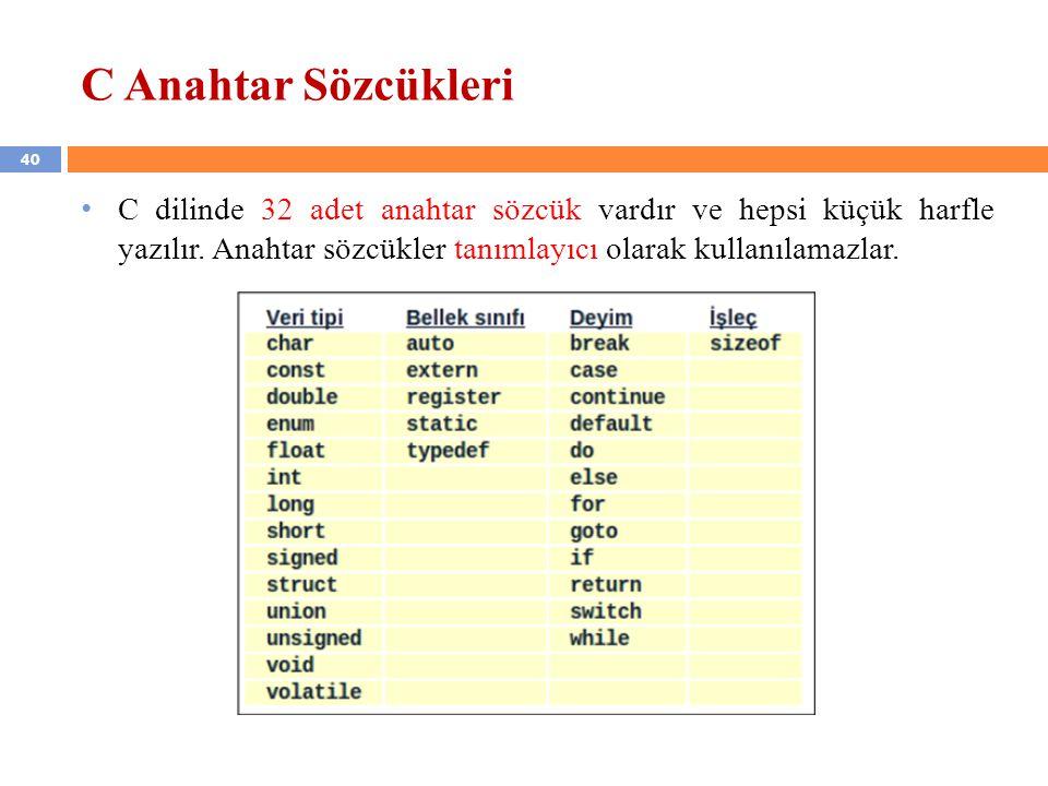 C Anahtar Sözcükleri C dilinde 32 adet anahtar sözcük vardır ve hepsi küçük harfle yazılır.